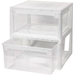 KREHER Aufbewahrungsbox 2x 23 Liter, mit Schubladen 2er Set weiß