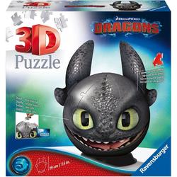 Ravensburger Puzzleball Dragons 3 - Ohnezahn mit Ohren, 72 Puzzleteile, Made in Europe, FSC® - schützt Wald - weltweit
