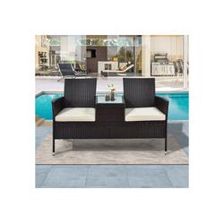 Masbekte Gartenbank, Polyrattan Gartensofa Balkonmöbel Gartenmöbe mit Tisch 2-Sitzer braun