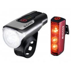 SIGMA Fahrradbeleuchtung Fahrrad LED Akku Beleuchtung Set Sigma Aura 80