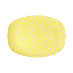 """rice Servierplatte Melamin Servier-Teller """"Pink Dot"""", 23x16,5cm gelb"""