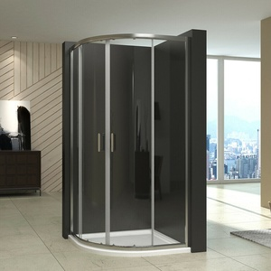Duschkabine Echtglas 80x80 Viertelkreis Dusche Duschabtrennung Schiebetür Nano
