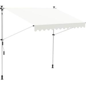 Melko Klemmmarkise mit LED Beleuchtung 150 cm breit Creme Balkomarkise ohne Bohren Sonnenschutz Terrassenüberdachung