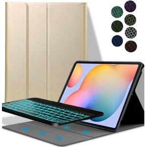 YGoal Tastatur Hülle für Galaxy Tab S5E, Deutsches QWERTZ Layout Ultra-Dünn Hülle mit 7 Farben Hintergrundbeleuchtung Abnehmbarer Tastatur für Samsung Galaxy Tab S5E 10.5 T720/T725, Gold
