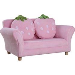 HOMCOM Kinder Erdbeersofa rosa, grün 90 x 50 x 43 cm (LxBxH)   Kindersessel Softsofa Kinderzimmer Sofa Sessel