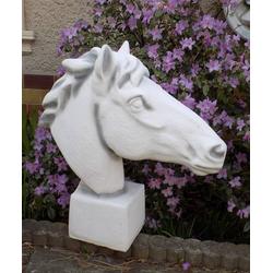 Gartenfigur Pferde Torso Skulptur als Gartendeko Pferdekopf Steinfigur 60cm B57cm 32kg