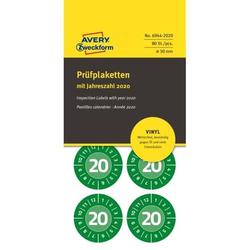 Prüfplaketten mit Jahreszahl (2020) Vinyl 30 mm grün VE=80 Stück