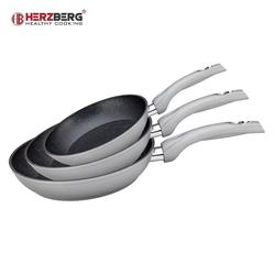 Herzberg Pfannen-Set 3er-Set Aluminiumpfannen, Aluminium (3-tlg., 1 Bratpfanne ø 20 cm; 1 Bratpfanne ø 24 cm; 1 Bratpfanne ø 28 cm) grau