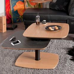 Designercouchtisch in Schwarz und Wildeiche furniert schwenkbarer Tischplatte