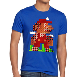 style3 Print-Shirt Herren T-Shirt Bros Level klempner 8bit japan mario L