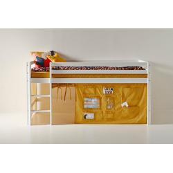 Hoppekids Hochbett mit Matratze und Textil-Set gelb 101 cm x 208 cm x 105 cm