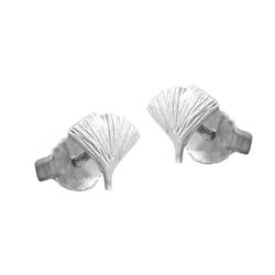 Gallay Paar Ohrstecker Stecker 7mm Ginkgoblatt matt Silber 925 (inkl. Schmuckbox), Silberschmuck für Damen