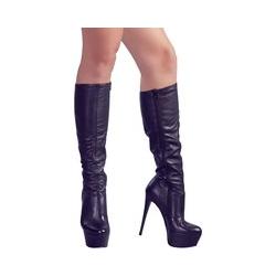 Stiefel aus Stretch-Lederimitat, Absatz 13 cm
