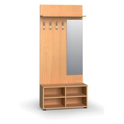 Garderobenwand, schuhregal + spiegel, 4 haken, ablage, buche