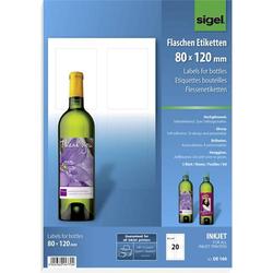 Sigel DE160 80 x 120mm Papier Weiß 20 St. Permanent Flaschenetiketten