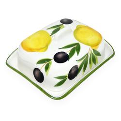 Lashuma Butterdose Zitrone Olive, Keramik, Große Butterschale 18x14 cm, Butterglocke Keramik