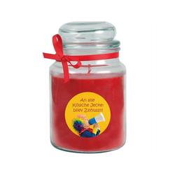 HS Candle Duftkerze (1-tlg), Karneval - Fasching Kerze im Bonbon Glas, Kerze mit Karneval's - Motiv rot Ø 10 cm x 10 cm x 16 cm