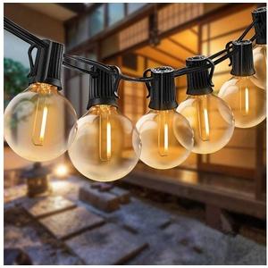 Elegear Lichterkette, LED Lichterkette Außen, 12,2 M Lichterkette Glühbirne 30 Glühbirnen mit 3 Ersatzbirnen G40 IP65 WASSERDICHT Lichterkette Warmweiß Innen/Außen Lichterkette Dekobeleuchtung für Garten Terrasse