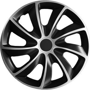Autoteppich Stylers (Verschiedene Größen) 14 Zoll Radkappe/Radzierblende 1 Stück Quad Bicolor (Schwarz-Silber) passend für Fast alle Fahrzeugtypen – universal