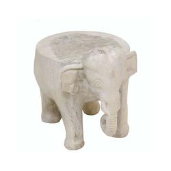 Oriental Galerie Blumenhocker Hocker Elefant 28 cm Mittel Weiß (1 St), Handarbeit