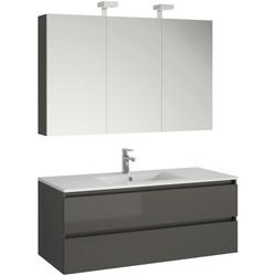 Allibert Badmöbel-Set Alma, (3-tlg), bestehend aus Spiegelschrank und Waschtisch grau