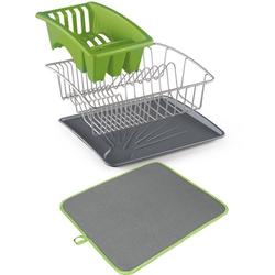 Metaltex Geschirrständer Aquanet, inklusive Softex-Abtropfmatte grün