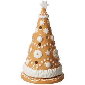 Villeroy & Boch Winter Bakery Deocoration Lebkuchenbaum klein, Hartporzellan, braun, weiß, 8x8x15