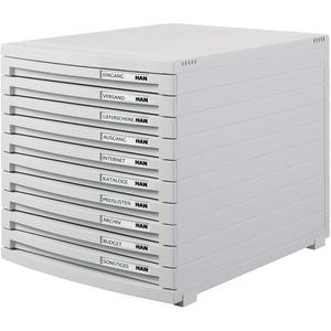 HAN Schubladenbox CONTUR – modernes und modular erweiterbares Schubladensystem, mit 10 geschlossenen Schubladen bis Format B4, lichtgrau, 1510-11