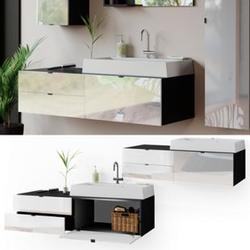 Vicco Waschtisch mit Waschbecken Bora hängend Waschbeckenunterschrank Badschrank
