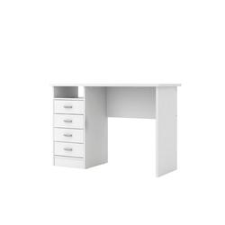 ebuy24 Schreibtisch Fula Schreibtisch 4 Schubladen und 1 Ablage, weiss