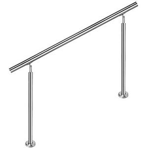 HENGMEI 100cm Treppengeländer Edelstahl-Handlauf Geländer Geländerstäben Terrassengeländer Bausatz Treppen (100cm, 0 Querstreben)