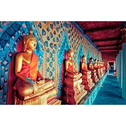 Papermoon Fototapete Golden Statues of Buddha, glatt 5 m x 2,8 m