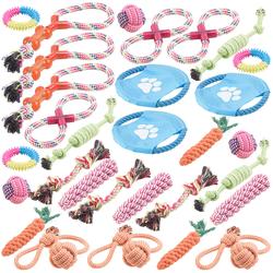 30er-Set bunte Hundespielzeuge aus Baumwolle zum Kauen und Toben