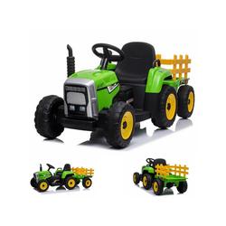 ES-Toys Elektro-Kinderauto Kinder Elektro Traktor mit Anhänger, Belastbarkeit 30 kg, 2 Elektro Motoren, Fernbedienung
