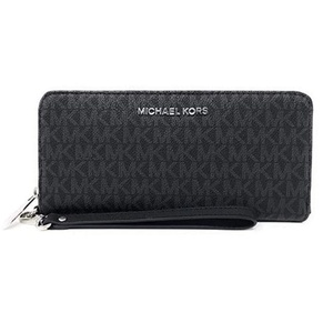 Michael Kors Jet Set Travel Continental Zip Around Leather Wallet Wristlet (Black PVC/ Silver Hardware)