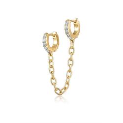 Elli Paar Creolen Duo Creolen Trend Kristalle 925 Silber, Creole goldfarben