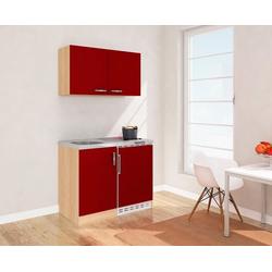 RESPEKTA Küchenzeile, mit Glaskeramikkochfeld und Kühlschrank, Breite 100 cm rot