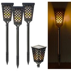 3er-Set Solar-Akku-Gartenfackeln mit Flammen-Effekt, 51 LEDs, 0,5 Watt