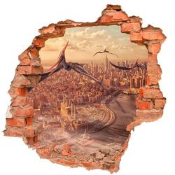 DesFoli Wandtattoo Dinosaurier Flugsaurier Stadt Skyline B0545 90 cm x 87 cm
