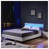 Home Deluxe HOME DELUXE Bett LED Bett Astro (Set, 2-tlg., Bett und Lattenrost), extra großes gepolstertes Kopfteil weiß 148 cm x 214 cm