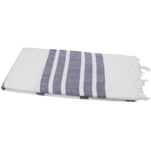my Hamam Hamamtücher Hamamtuch XL weiß marineblau mit Fransen (1-St), saugstark & pflegeleicht