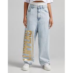 Bershka Jeans Extreme Baggy Print Clippers Nba + Bershka Mujer 44 Azul Lavado