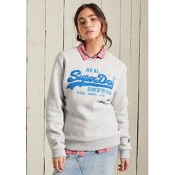 Superdry Sweater VL CHENILLE CREW mit 3D Chenille Print grau M