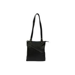 Cinino Handtasche Emily, Taschenrucksack Schultertasche Ledertasche Lederrucksack schwarz