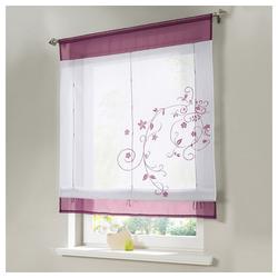 Raffrollo Bestickt Raffgardine Vorhang Gardine Fenstervorhang Scheibengardinen, i@home, mit Schlaufen rot 100 cm x 140 cm