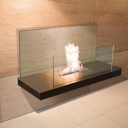Wall Flame II - schwarzer Edelstahl, Korpus + Glas schwarz