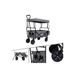 Arebos Bollerwagen Bollerwagen ECO mit Dach, Zusammenfaltbar, mit Ziehstange, Traglast 70 kg, Maße 117 x 55 x 125 cm grau