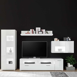 TV Wohnwand in Hochglanz Weiß modern (4-teilig)