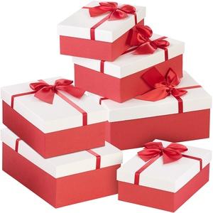6er-Set edle Geschenk-Boxen mit roter Schleife, 3 verschiedene Größen