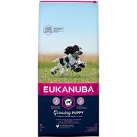 Eukanuba Puppy Welpenfutter für mittelgroße Rassen – Ausgewogenes Trockenfutter mit verbesserter, neuer Rezeptur für Welpen im Alter von 1-12 Monaten in der Geschmacksrichtung Huhn – 1 x 12kg Beutel